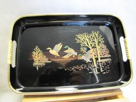 Vtg Serving Snack Tray Black with gold Malard Duck Bird Oriental Japanese   - $8.42