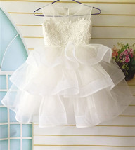 Lace Flower Girl Dress, Tulle Layered Flower Girl Dress, First Communion... - £53.45 GBP+