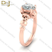 Rose Gold Fn Nearly White Moissanite Oval Cut Skull Goth Womens Annivers... - £297.66 GBP