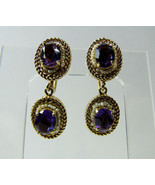Edwardian AMETHYST Gemstone SEED PEARLS 14K 14KT Yellow Gold Earrings 13... - $445.50