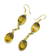 Yellow Gold Plated Fashion appealing Citrine CZ usually Earring AU gift - $14.54