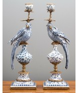 Pair of Oriental Bronze Ormolu Aviary Birds Porcelain Candle Holders,19''H. - $750.00