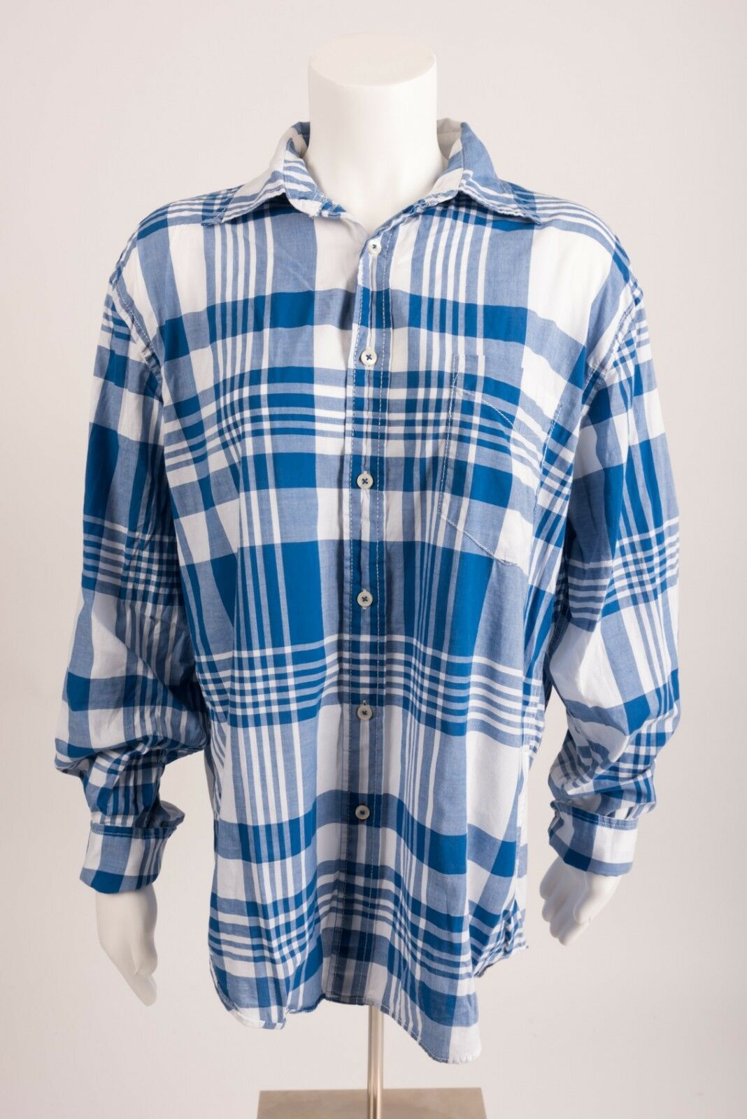 Primary image for Boden Mens Plaid Shirt Button Down Oxford Medium M Blue White Front Pocket L/S