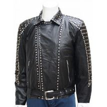 New Studded Black Leather Jacket Unique Men Made to Order All Sizes Hot ... - $219.99+