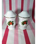 Sweet Vintage Polfa Holly & Berry Gold Trim Christmas Salt & Pepper Set ... - $5.00