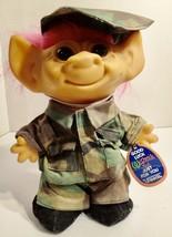 "Vintage 1980s 90s Uneeda Wishnik Troll Doll 9"" Army Soldier - $9.89"