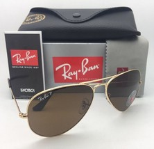 Polarized RAY-BAN Sunglasses LARGE METAL RB 3025 001/57 62-14 140 Gold w/ Brown