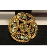 Vintage Goldtone Leaf Pattern Pin With Light green Gems - $6.25