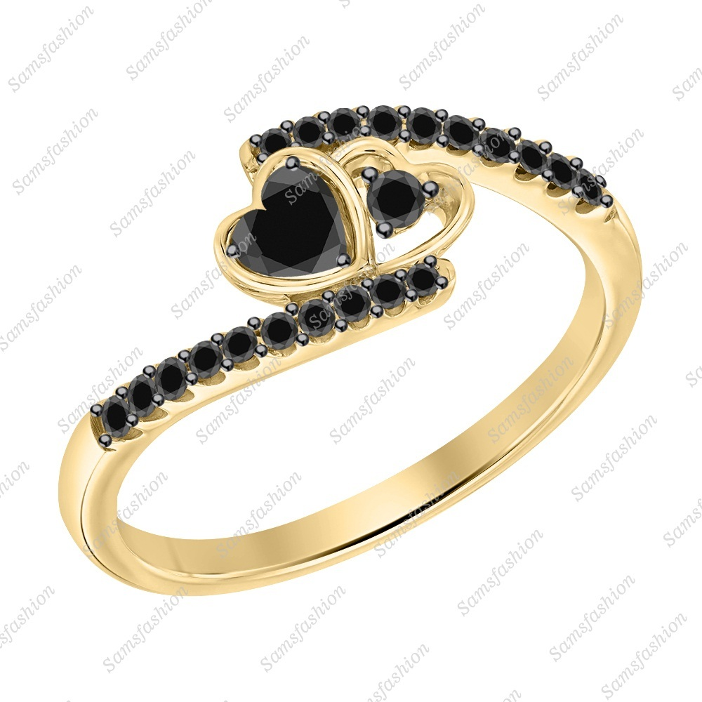 Primary image for Heart Cut Black Diamond 14k Yellow Gold 925 Silver Double Heart Promise Ring