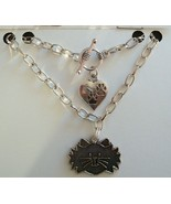 Cat Face silver plated charm bracelet 7 inch cat lovers jewelry gift CTB001 - $3.95