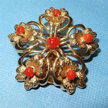 Vintage 14K Gold Brooch Pin Burst Red Carnelian Cabochons 9.9 g Not Scrap - $442.73