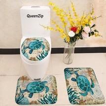 Bathroom Set Toilet Seat Cover Sea Blue Marine Turtle Whale Seahorse Oct... - $20.99