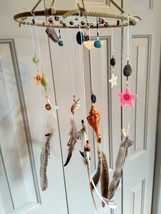Dreamcatcher Mobile with Seashells Blue Picasso Jasper Amethyst Pink Aga... - $51.95