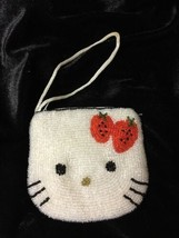 HELLO KITTY COIN PURSE WHITE SEQUIN RED BOW ZIPPERED - $24.50