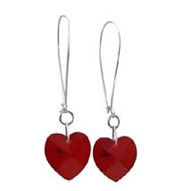Siam Red Heart Crystal Swarovski Hoop Chandelier Earrings - $20.49