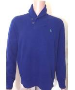 RALPH LAUREN hommes côtelé bleu roi col châle tricot extra Petit XS - $105.43