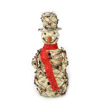 "Northlight 27.5"" Lighted Burlap Berry Rattan Snowman Christmas Yard Decor - $82.90"