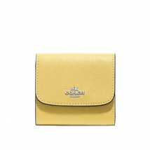 NWT COACH Small Wallet Leather Trifold Coin Card Clutch Light Yellow F87... - $52.47