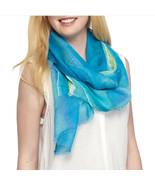 New RALPH LAUREN Kimberly Scarf Smooth Rayon Ramie Womens Wrap Spring Blue - $11.99