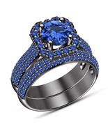 14k Black Gold Over 925 Sterling Silver Womens Wedding Bridal Sapphire R... - $87.19