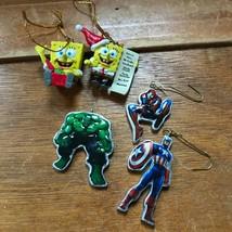 Lot of 5 Mini Plastic Marvel Captain America HULK Spiderman & SPONGEBOB ... - $11.29