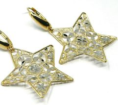 18K YELLOW WHITE GOLD PENDANT EARRINGS ONDULATE WORKED STAR, SHINY, STRIPED image 3