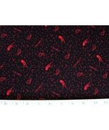 1/2 yd music/notes/instruments red on black quilt fabric -free shipping - $8.99