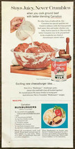 1957 Carnation Evaporated Milk Print Ad Bunburger Recipe Meatloaf Patties - $9.89