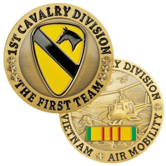 "Primary image for ARMY 1ST CAVALRY DIVISION VIETNAM AIR MOBILITY RIBBON 1.75"" CHALLENGE COIN"