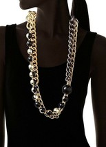 Daniela Swaebe 18K Gold Black Rhodium-Plated Ball Chain Ombre Statement Necklace image 2
