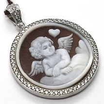 Silver Pendant 925 Cameo, Angel Engraved by Hand, Heart, Cloud, Zircon image 1