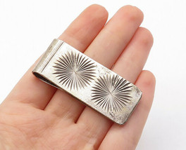 MEXICO 925 Sterling Silver - Vintage Star Etched Design Money Clip - T2179 - $62.79