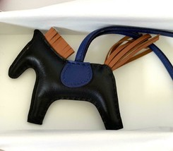 Hermes So Black Rodeo PM Bag Charm Horse New Black Gold Blue - $1,282.05
