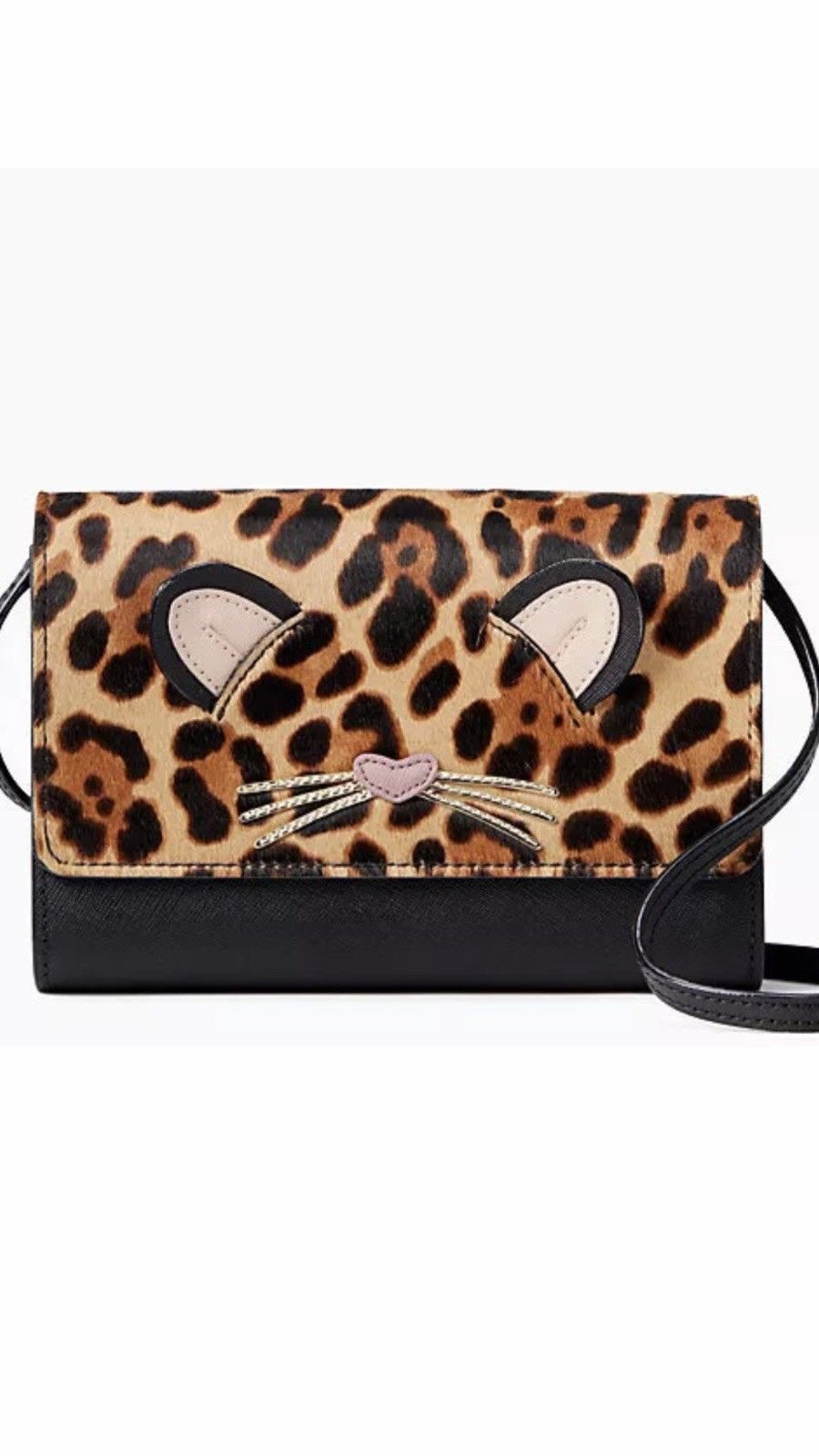 Primary image for KATE SPADE NWT LEOPARD SUMMER RUN WILD CROSSBODY CLUTCH WALLET BAG LEATHER