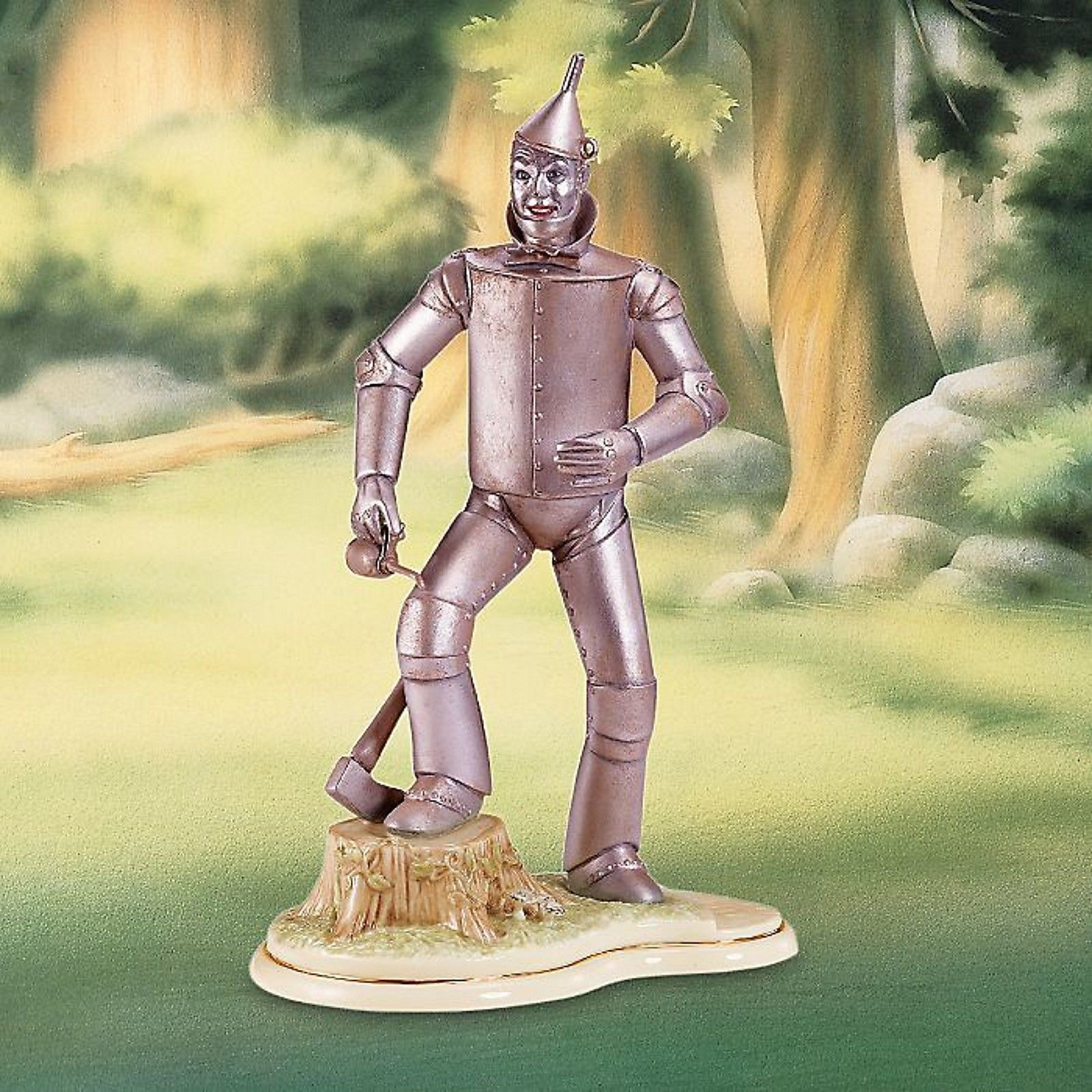 Lenox The Wizard of Oz Tin Man Figurine Ax Tree Stump Oil Can RARE NEW IN BOX