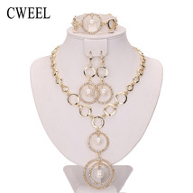 Pendant Necklace Earrings Imitated Crystal Bracelet Gold Color Chokers J... - $19.70