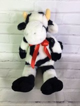 Vintage Manhattan Toy Company Cow Plush Stuffed Animal With Bow Black Wh... - $55.44