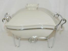 Godinger 6322 Siena One Quart Covered Porcelain Baker With Serving Rack image 2