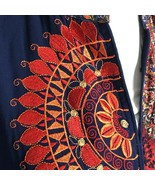 Navy Blue Tunic Red Orange Embroidered Flowers Paisleys Long Sleeve Large - $56.68