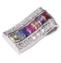 925 Sterling Silver w Multi-color Natural Gemstones Pendant Necklace [PE... - $35.64