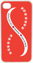 Orange and White Infinity Paw with Four Navy Custom Names on iPhone 4 4s... - $15.95