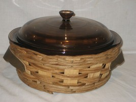 Pyrex by Corning Amber 024 Bowl Ovenware & Lid and Wood Rope Server - $13.98