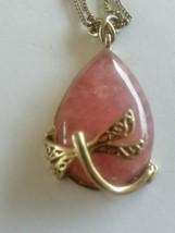 Vintage Signed Monet Dragonfly Rose Quartz Gold Tone Pendant Necklace - $30.00