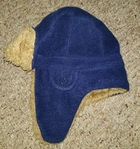 GAP KIDS Sherpa Lined Navy Blue Fleece Trapper Hat Boys Sm/Med 4-8 - $6.79
