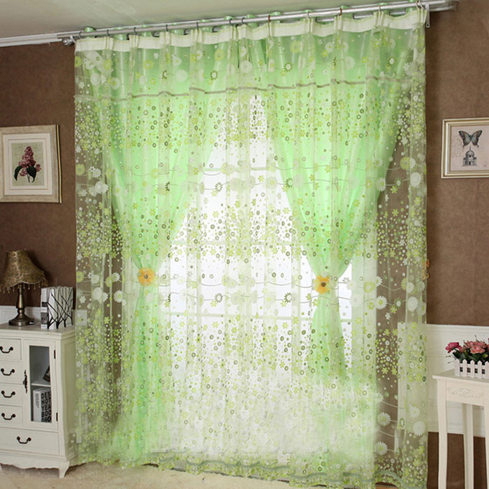 Flower-Design-Rustic-Organza-Tulle-Fabric-Sheer-Window-Curtains-Home-100X200CM for sale  USA