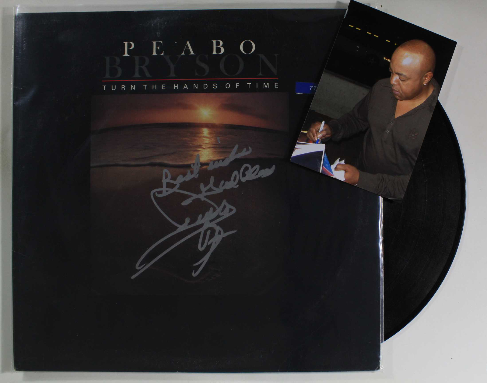 Primary image for Peabo Bryson Signed Autographed Record Album w/ Proof Photo