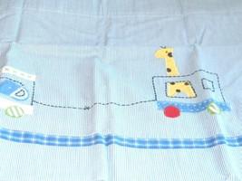 Pottery Barn Kids Nursery Valance Ryder Train Animals Blue White Ticking Stripe - $19.78