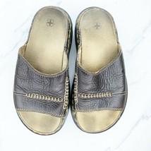 Dr. Martens Women's 6 M Brown Leather Sandals Slides Shoes image 2