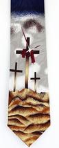 Easter Crosses Mens Neck Tie Religious Christian Crucifixion Jesus Blue ... - $17.95