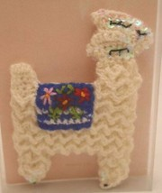 Anthropologie Crochet Sequin Llama Pin Brooch I LOVE YOU A LLAMA accessory - $15.79